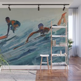 African American Surfers, Honolulu, Hawaii landscape painting by Fred Soldwedel Wall Mural