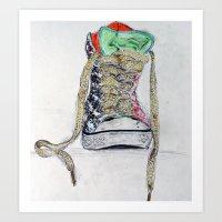 sneaker Art Prints featuring Sneaker by H & J