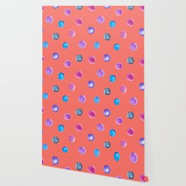 Living coral watercolor blue turquoise and violet polka dot pattern Wallpaper