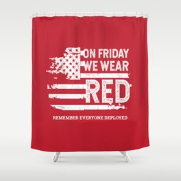 We Wear Red Friday American Flag Shower Curtain