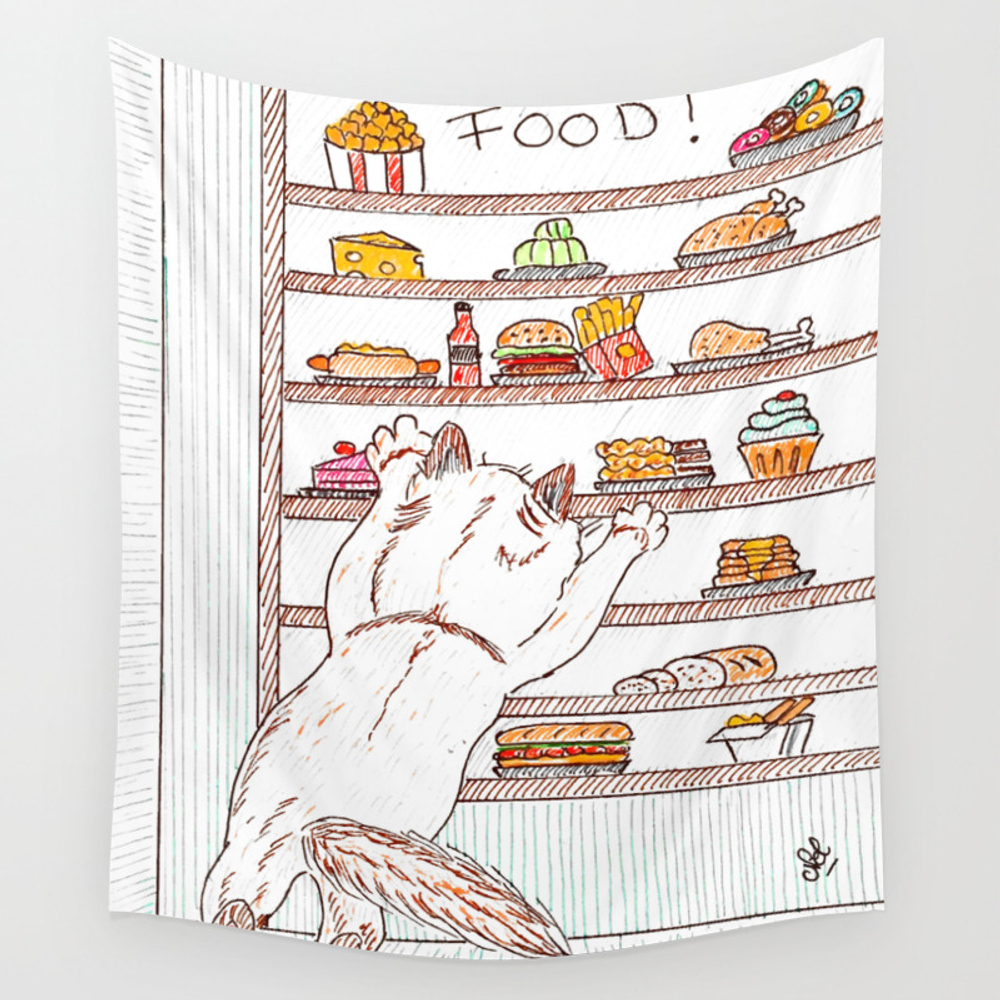 Give Me All The Food! Wall Tapestry by Auxcrayonsdenel TPS7764967