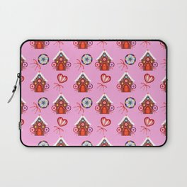 gingerbread houses, candy lollipops. Retro vintage cozy baby pink Christmas pattern Laptop Sleeve