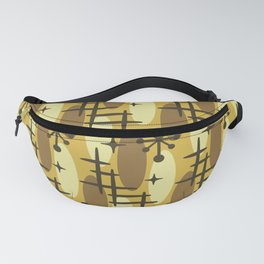 Retro Mid Century Modern Cosmic Surfer Pattern 231 Yellow Brown and Beige Fanny Pack