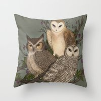 owls Throw Pillows featuring Owls by Jessica Roux