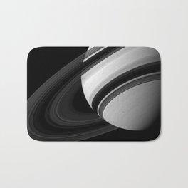 Saturns Rings Cassini HuygensOrbiter Black and White Image Bath Mat