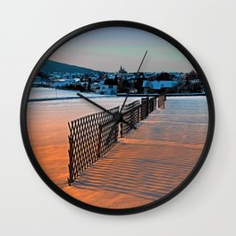 Fences, evening sun and the village | landscape photography Wall Clock