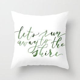 Let's run away (green) Throw Pillow