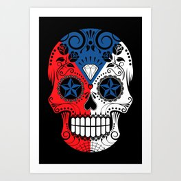 Sugar Skull with Roses and Flag of Czech Republic Art Print