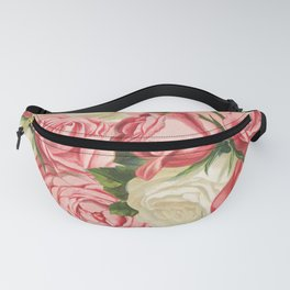 Coral pink blush cream ivory and green summer big roses Fanny Pack