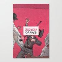 clockwork orange Canvas Prints featuring Clockwork Orange by Temescu Illustration