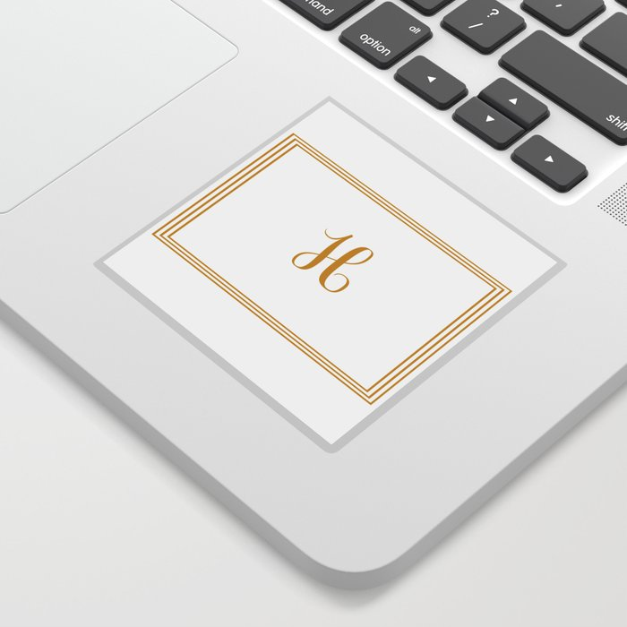 monogram letter h in golden yellow sticker by lena127 society6
