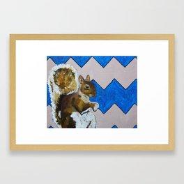 Blue and Beige Chevron Squirrel Framed Art Print
