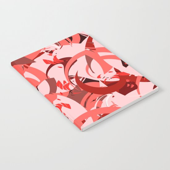 Abstract Curls - Burgundy, Coral, Pink Notebook