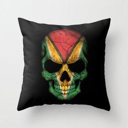 Dark Skull with Flag of Guyana Throw Pillow