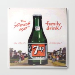 """Vintage Ads: 7Up """"The Fresh Up Family Drink"""" Metal Print"""