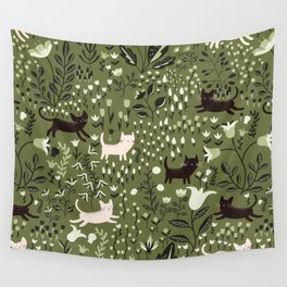 Cats in the Garden Pattern Wall Tapestry