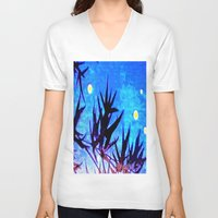 firefly V-neck T-shirts featuring Firefly by Puttha Rayan Ali