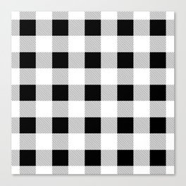 western country french farmhouse black and white plaid tartan gingham print Canvas Print