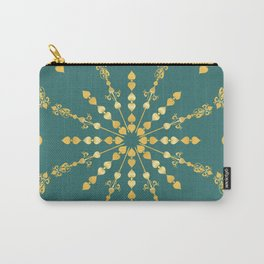 Golden Geometric Fretwork Star in Emerald teal Green Carry-All Pouch