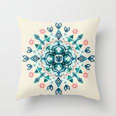 Watercolor Lotus Mandala in Teal & Salmon Pink Throw Pillow