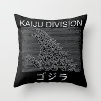 kaiju Throw Pillows featuring Kaiju Division by pigboom el crapo