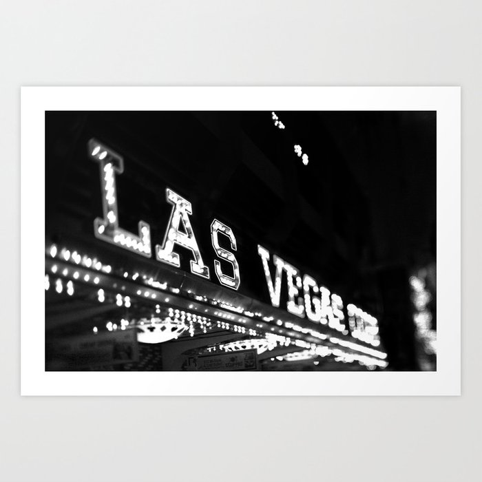 Vintage las vegas sign black and white photography art print