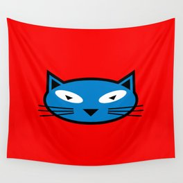 Blue Kitty Wall Tapestry