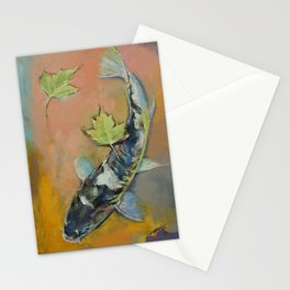 Koi with Japanese Maple Leaves Stationery Cards