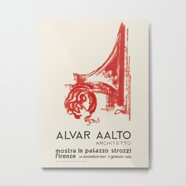 Exhibition poster-Alvar Aalto-Mostra in plazzo strozzl Firenze. Metal Print