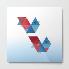 Blue and Red Birds Metal Print