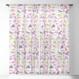 Watercolor Dinosaur Silhouette Pattern Purple Pink Green Sheer Curtain
