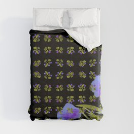 Atom Flowers #34 in purple and green Duvet Cover