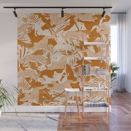 Golden Brown Jungle Life Wall Mural