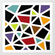 White lines & colors pattern #1 Art Print