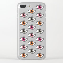 EYES WIDE OPEN - PASTEL PINKS Clear iPhone Case