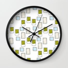 Post Stamp Illustration Wall Clock