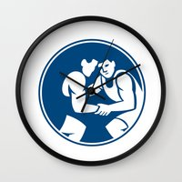 wrestling Wall Clocks featuring Wrestlers Wrestling Circle Icon by patrimonio