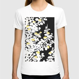 White Yellow Flowers on Black Background T-shirt