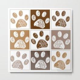Doodle paw print pattern with brown square Metal Print
