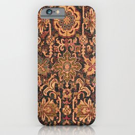 Floral Medallion I // 18th Century Colorful Blue Lime Green Pink Sapphire Plum Burlap Brown Pattern iPhone Case