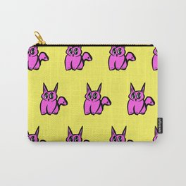 The Pink and Yellow Pussy Cat Parade Carry-All Pouch