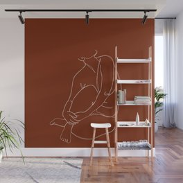 Nude figure line drawing - Pansy Wall Mural