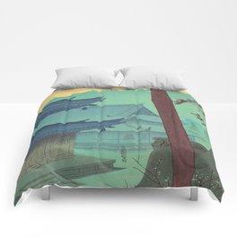 Asano Takeji Japanese Woodblock Print Vintage Mid Century Art Teal Turquoise Sunrise Shrine Comforters