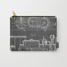 Steam Train Patent - Steam Locomotive Art - Black Chalkboard Carry-All Pouch