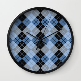 Argyle in Blue and Black Wall Clock
