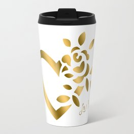 Gold Valentine Heart and Rose Travel Mug