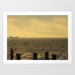 Cargo ship on horizon line on Chesapeake Bay, MD Art Print