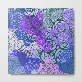 Colorful Overlapping Roses on Roses Print Design 3 Metal Print