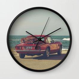 Red Supercar, classic car, triumph, spitfire, color photo, interior design, old car, auto Wall Clock