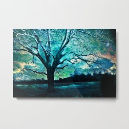 Surreal Fantasy Fairytale Aqua Blue Trees Gothic Landscape Metal Print